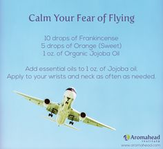Calm your fear of flying with this essential oils blend! Soar to new heights!   Become a Certified Aromatherapist professionally qualified in the therapeutic uses of essential oils.  http://www.aromahead.com/class/aromatherapy-certification-program