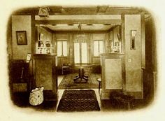 Living room of the Lodge around 1920 This photo has a coarse