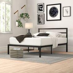 Modern Metal Platform Bed Frame Base with Headboard Mattress Foundation Metal Platform Bed, Queen Platform Bed, Upholstered Platform Bed, Platform Beds, Cama Box, Under Bed Storage, Bed Reviews, Adjustable Beds, Headboard And Footboard