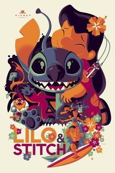 Tom Whalen Lilo and Stitch Print Poster Pixar Disney Mondo Artist Stich Disney Pixar, Disney Amor, Cute Disney, Disney And Dreamworks, Disney Animation, Disney Films, Disney Magic, Walt Disney, Disney Villains