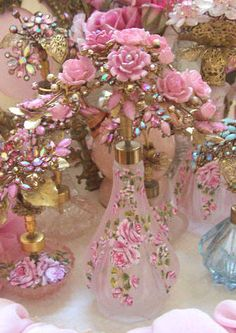 Gorgeous Blush Pink Frosted Glass Perfume Bottle Bouquet of Roses Repinned by Pinterest Pin Queen ♚