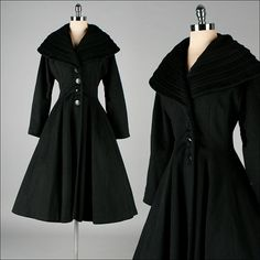 Vintage+1950s+Coat++Black+Wool++Pockets++by+millstreetvintage,+$525.00