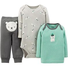 Child of Mine by Carter's Newborn Baby Boy Top, Bodysuit, and Pant 3-Piece Outfit Set Olive Bear