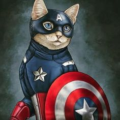 The fat cats play the superhero in a series of illustrations made by Jenny Parks as Captain America, Batman, Thor or the Hulk. Discover the other fascinating side of our friends, the cats. I Love Cats, Crazy Cats, Avengers Characters, Marvel Avengers, Comic Book Superheroes, Gatos Cats, Super Cat, Cat People, Illustrations