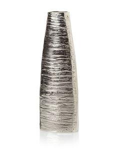 "Impulse! Jungle Vase (Silver), Cast aluminum with textural detailing - 13.5""H x 2.5""W x 4.5""L  39 orig. 80"