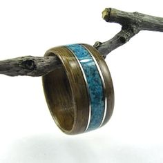 Bentwood Ring Walnut with Turquoise Inlay and Sterling Silver Accents