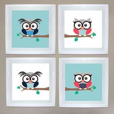 Owl Print Set of 4 - Girl & Boy | Ruby & Me | Online Shop