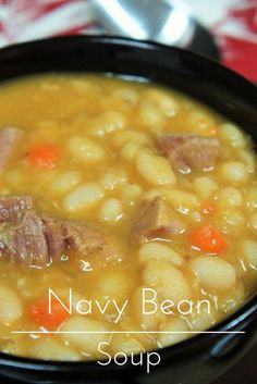 In this recipe navy beans are paired with smoked ham, vegetables and a combination of spices to make a hearty and delicious soup. Like with many bean soups, you can't rush the process, so make this navy bean soup on a leisurely afternoon. Ham And Beans, Ham And Bean Soup, Ham Soup, White Bean Soup, Crock Pot Soup, Crockpot Navy Bean Soup, Soup Beans, Potato Soup, White Beans
