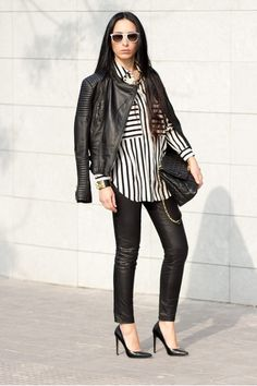 Leather & striped shirt