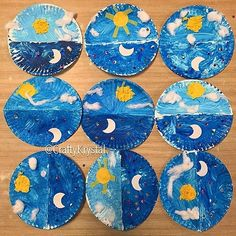 Instagram media craftykrystal - ☀️Day & Night Great #craft and #activity for lots of lessons and books! Fold a #paperplate I. Half, #paint one side light blue, the other side dark #blue, add #cottonball #clouds and a #sun on the #sunny #daytime side, and #sequins #stars and a #moon on the #nighttime side #dayandnight #day #night #oneday #preschool #teacher #teachersfollowteachers