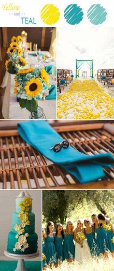 7 Perfect Yellow Wedding Color Combination Ideas to Have yellow and teal wedding color ideas 2015 Yellow Wedding Colors, Summer Wedding Colors, Summer Colors, Yellow Flowers, Summer Wedding Ideas, Wedding Color Combinations, Wedding Color Schemes, Color Combos, Colour Schemes