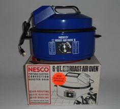 NESCO Convection Oven Roaster Air Roast Bake Broil 6 Quart Vintage 1993 Blue NEW #NESCO Ebay Shopping, Rice Cooker, Roast, Oven, Baking, Blue, Vintage, Bakken, Ovens