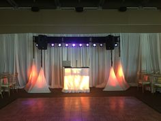Lighting Plus with up lite white skirts at Orilla del Rio Ballroom Stage Lighting, White Skirts, Curtains, Home Decor, Blinds, Decoration Home, Room Decor, Interior Design, Draping