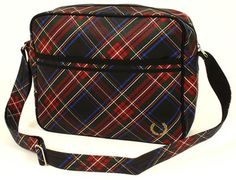 Fred Perry vintage-style tartan shoulder bag