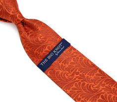 Steven Land Big Knot Rust Orange Floral Neck Tie
