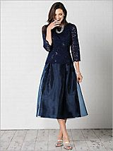Tea Length Dress with Sequin Detail by Alex Evenings   Drapers and Damons