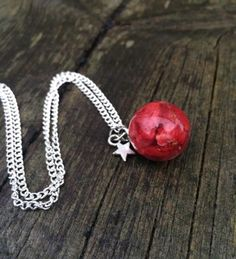 Strawberry resin sphere  - resin - necklace by LykkeliDesign on Etsy https://www.etsy.com/listing/263716924/strawberry-resin-sphere-resin-necklace