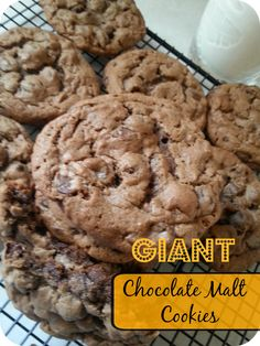 The Better Baker: Giant Chocolate Malt Cookies! German Chocolate Cookies, Giant Chocolate, Chocolate Malt, Chocolate Recipes, Cookie Recipes, Dessert Recipes, Desserts, Malt Recipe, Milk Cookies