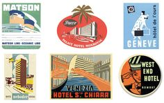 mid-century luggage labels