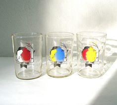 Drinking Glasses with Birds Vintage set of 3 USSR by MerilinsRetro, $16.00