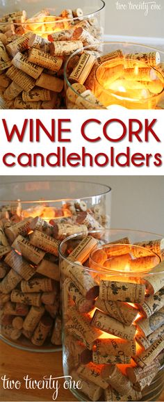 Easy Home Decor Ideas: Wine Cork Candle Holders | Easy DIY Wine Cork Project by DIY Ready at  http://diyready.com/more-wine-cork-crafts-ideas/