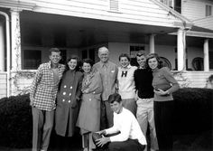 The Kennedy family in Hyannis Port, Massachusetts, 1948. From left: John F. Kennedy, Jean Kennedy, Rose Kennedy, Joseph P. Kennedy Sr., Patricia Kennedy, Robert F. Kennedy, and Eunice Kennedy, with Edward M. Kennedy (Ted) in the foreground. From the John F. Kennedy Presidential Library and Museum, Boston.