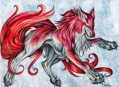 black winged red wolf with blue eyes anime - Google Search