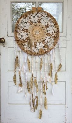 Dream catcher wall hanging with vintage by ModernH2Oanddrygoods