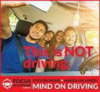 distracted selfie   There are several good PSA images here as well as details on Florida's safety campaign from April 2016. Be1safedriver, #ArriveAlive!