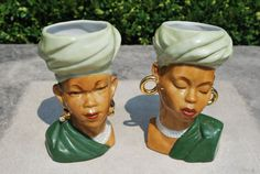 Vintage 1940s African Women Green Ceramic by GoodSoulVintageMI, $75.00