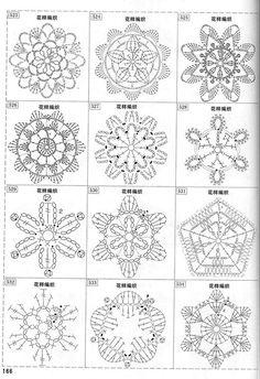 "Photo from album ""Узоры крючком"" on Yandex. Crochet Symbols, Crochet Motifs, Crochet Diagram, Crochet Squares, Thread Crochet, Crochet Patterns, Crochet Snowflake Pattern, Crochet Snowflakes, Yarn Flowers"