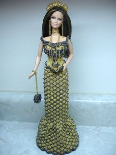 Metallic gold rose crocheted Barbie outfit with beads - August 2009 by Happy 2 Sew, via Flickr