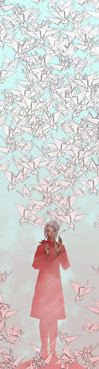An Illustration based on the Japanese legend that if one makes a 1000 origami cranes they receive one wish…    By Lee Court
