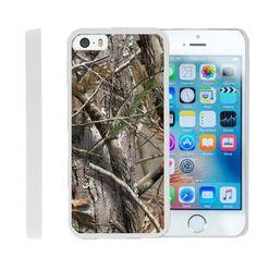 Apple iPhone SE Case SNAP SHELL Hard White Plastic Case with Non Slip - Tree Bark Hunter Camo