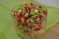 Lemony Farro with Tomatoes, Corn, Edamame and Cannellini Beans