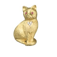Cat Brooch Gold Diamonds & Rubies | Dogs & Cats | Pins & Brooches | Jewelry | ScullyandScully.com