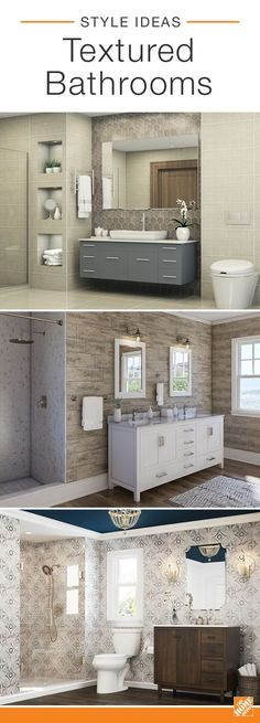 See how these three baths use contrasting textures in inspired ways. We've combined Mediterranean tile with wood-look laminate flooring, a slate backsplash with a sleek vanity, and marble shower tiling with chrome-finished hardware. Explore more stylish baths and discover your next style upgrade.