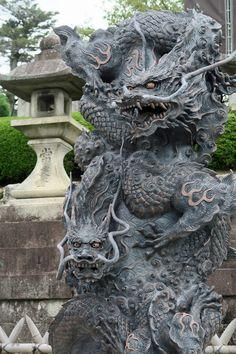 "ninetail-fox: ""the Japanese dragon at the temple ,Kyoto "" Japanese Tattoos For Men, Japanese Dragon Tattoos, Japanese Tattoo Art, Japanese Art, Statues, Mermaid Art, Mermaid Paintings, Vintage Mermaid, Manga Mermaid"
