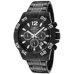 Invicta Men's 1505 Chronograph Black Ion-Plated Stainless-Steel Watch. Japanese Quartz. Flame-fusion crystal; Brushed and polished black ion-plated stainless steel case and bracelet. Chronograph functions with 60 second, 60 minute and 24 hour subdials; Date function. Black textured dial with silver tone hands, hour markers and arabic numeral 12; Luminous; Unidirectional bezel with white engraved arabic numerals at 5 second intervals. Water resistant to 330 feet (100 M): suitable for…