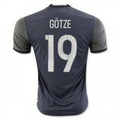 Tyskland 2016 Gotze 19 Borte Drakt Kortermet.  http://www.fotballteam.com/tyskland-2016-gotze-19-borte-drakt-kortermet.  #fotballdrakter