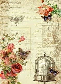 Vintage ephemera and floral background