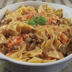 Bowties with Italian Sausage in a Cream Basil Sauce Recipe - Allrecipes.com  -   #JvilleKitchens