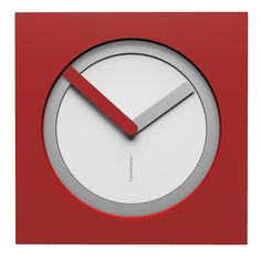 10-022-Q01C02B65O02M65 Wall clock KAM  - Do you like this color scheme? White, aluminium and ruby. Have fun creating your own #wallclockdesigns