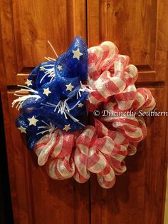 Elegant Patriotic Outdoor DecoMesh Wreath by DistinctlySouthern
