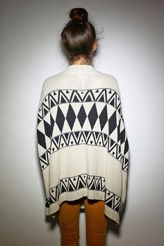 geometric print sweater.