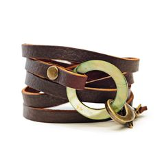 ❤ Agate Leather Cuff Green || Stone & Smith
