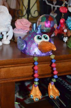 Creative PaperClay pinch pot bird