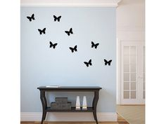 "This 1-color wall decal will add a nice accent to any room in your house.  This Vinyl Wall Decal includes:  9 - 7""x5.5"" Butterfly Decals"