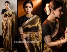 Aarti Ravi attended a wedding recently wearing a gold tissue saree that featured embroidered border paired with contrast black high neck blouse by Sabyasachi. Gold jewelry from VJ jewellery Vision and a center parted gajra bun rounded out her look! Silk Saree Blouse Designs, Saree Blouse Patterns, Sabyasachi Sarees, Banarsi Saree, Bollywood Saree, Lehenga, Golden Saree, Saree Poses, Indian Beauty Saree