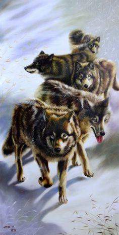 """animal oil painting Original North Korean Oil Painting wolf "" by jinshan men. Paintings for Sale. Animal Paintings, Paintings For Sale, Original Paintings, Tiger Art, Art Sites, Australian Artists, Art Market, Oil Painting On Canvas, Art Studios"